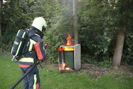 Prullenbak brand Paardenlaan Noordwijk