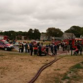 Brandweer Noordwijk houdt eindoefening op de Willem van den Bergh