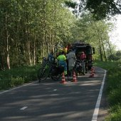 Vrouw komt met haar voet vast te zitten in achterwiel fiets Cantineweg Katwijk
